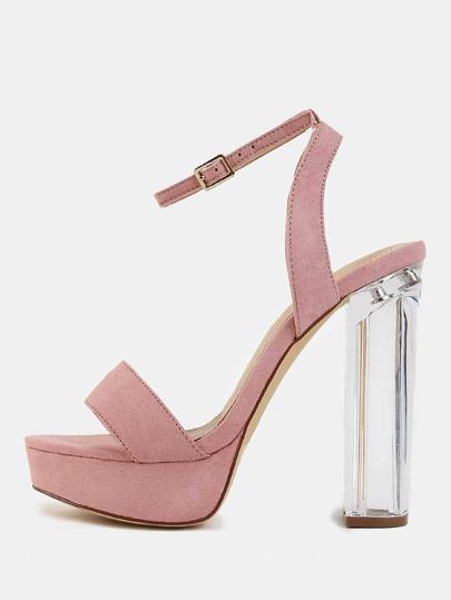 Pastel Platform Clear Heels DUSTY PINK
