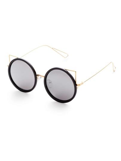 Gafas de sol con diseño redondo marco negro dorado y lentes plateado