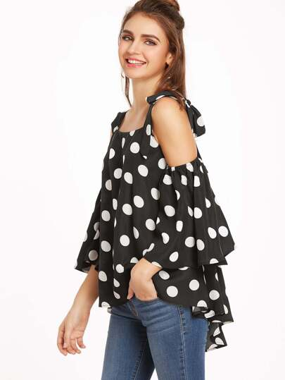Open Shoulder Polka Dot Bow Tie Blouse