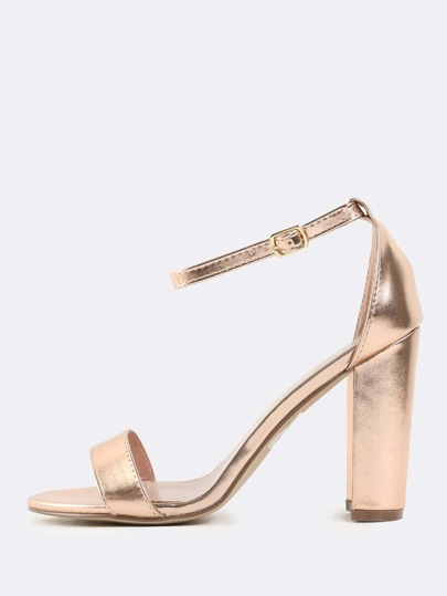 Metallic Ankle Strap Heels ROSE GOLD