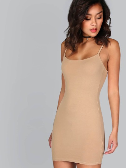 Formfitting Cami Dress KHAKI