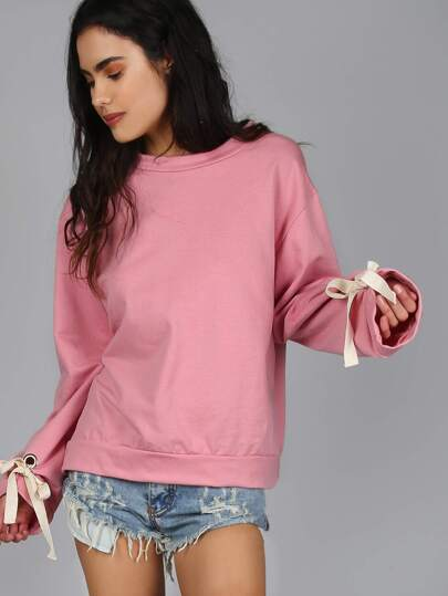 Tie-Detailed Cropped Sweater PINK