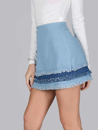 Frayed Mixed Denim Mini Skirt DENIM