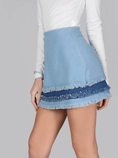 Frayed Mixed Denim Mini Skirt DENIM