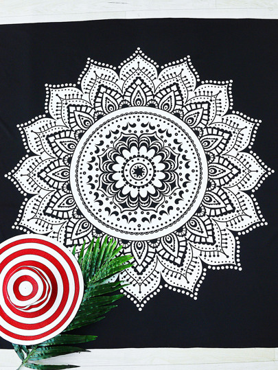 Black And White Lotus Print Beach Blanket