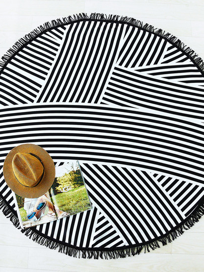 Black Striped Print Fringe Detail Round Beach Blanket