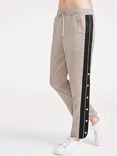 Drawstring Waist Contrast Split Side Buttoned Pants