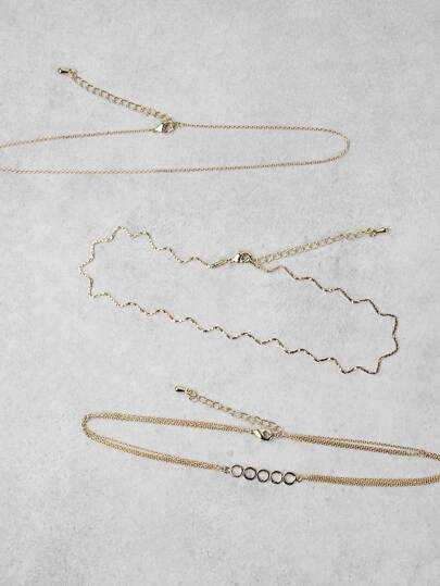 Metallic Wavy Choker Set GOLD