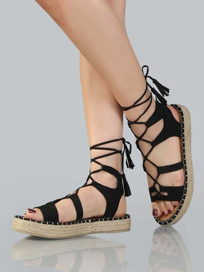Platform Espadrille Lace Up Sandals BLACK
