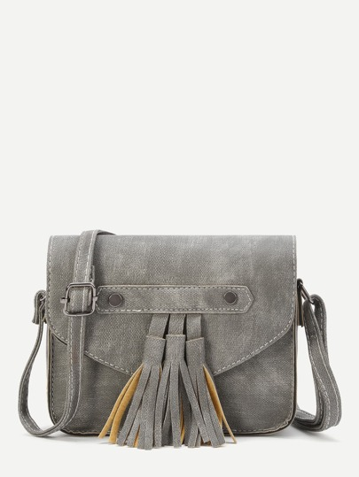grey faux cuir tassel trim flap sac
