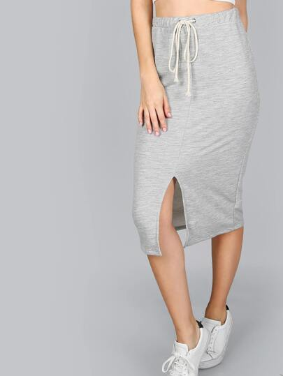 Midi Front Slit Pencil Skirt HEATHER GREY
