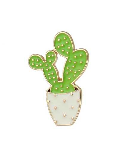 Broche en forma de planta de esmalte-verde