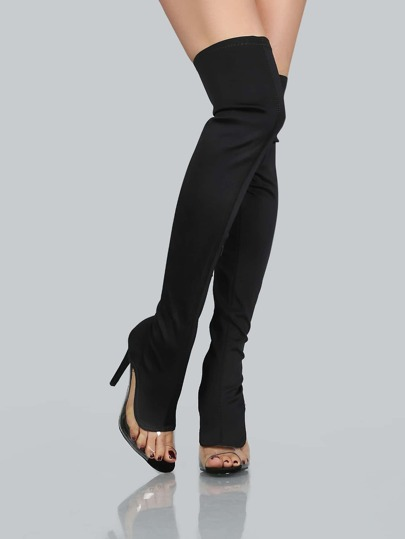Peep Toe Stilletto Thigh High Boots BLACK
