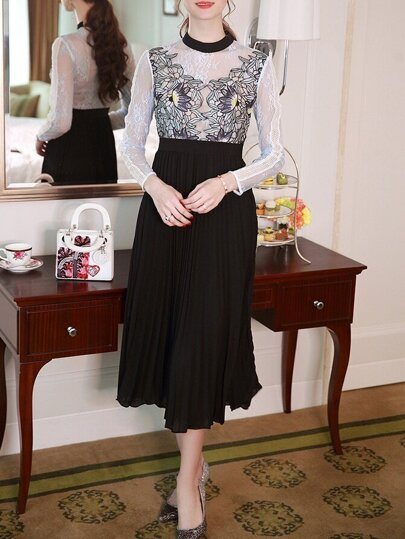 Black Sheer Crochet Lace Pleated Dress