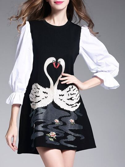 Black Swans Embroidered Shift Dress