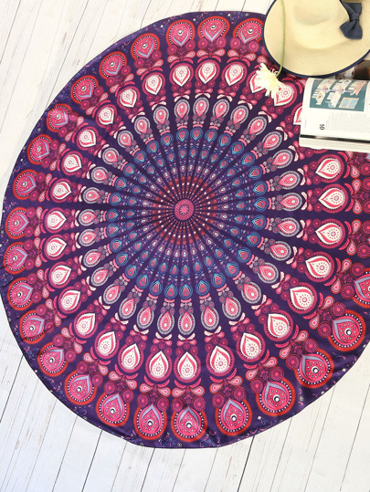 Red Tribal Print Vintage Round Beach Blanket