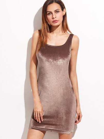 Brown Double Scoop Neck Velvet Tank Dress