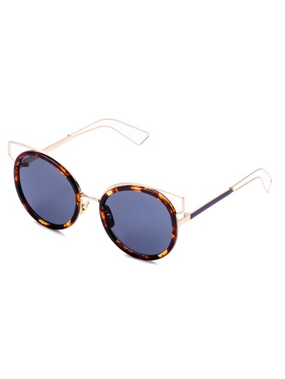 Brown Frame Hollow Out Detail Sunglasses