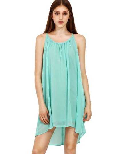 Spaghetti Strap Hollow Shift Neon Mint Green Braces Sun Slip Dresses