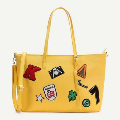 Yellow Faux Leather Patch Detail Tote Bag