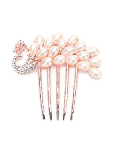 Peacock Shape Pearl And Rhinestone Comb Hairpin