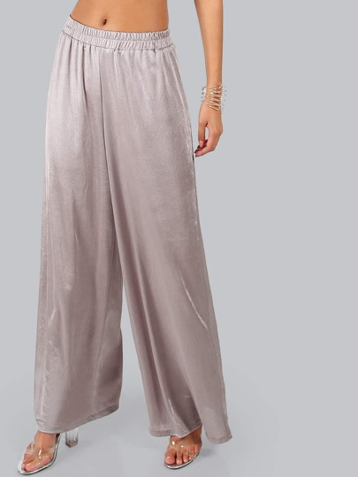 Loose Fit Satin Pants TAUPE