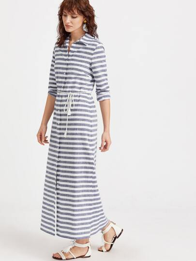 Navy White Striped Side Slit Shirt Dress With Belt