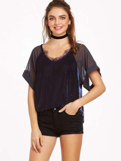 Navy Sheer Raglan Sleeve Lace Trim Velvet Top
