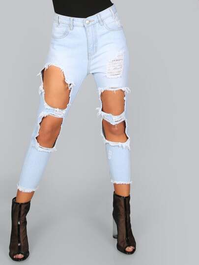 Distressed Boyfriend Jeans LIGHT BLUE