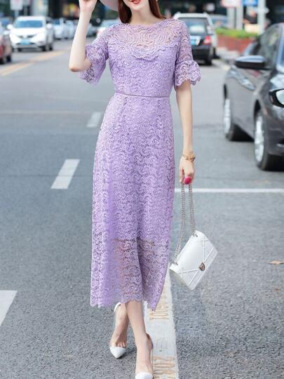 Purple Crochet Hollow Out Maxi Dress