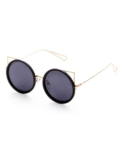 Black And Gold Frame Grey Lens Round Design Sunglasses