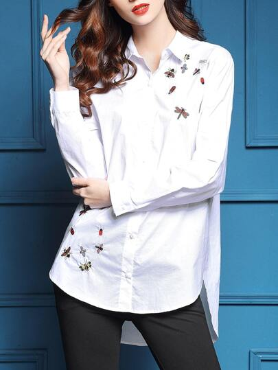 White Lapel Animals Embroidered High Low Blouse