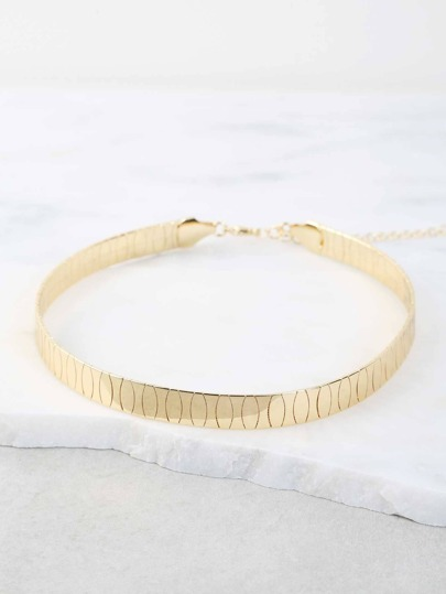 Textured Metallic Choker Cuff GOLD