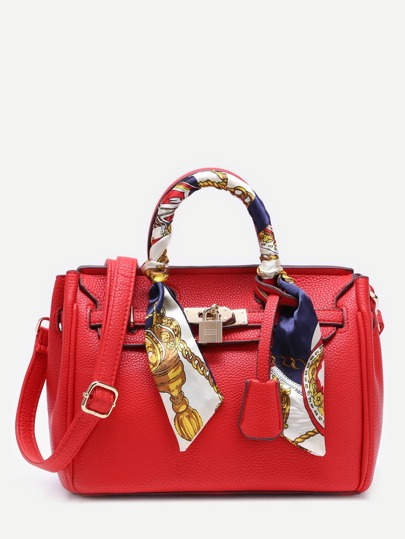 Red Pu Satchel Bag With Adjustable Strap