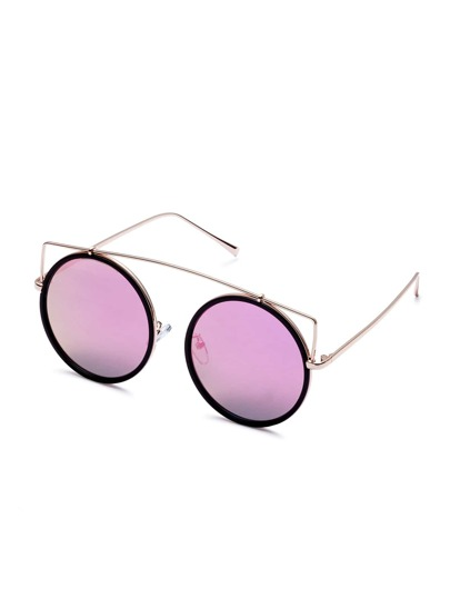 Gold Frame Purple Lens Round Sunglasses