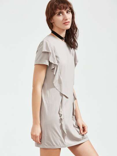 Grey Ruffle Detail Short Sleeve Tee Dress