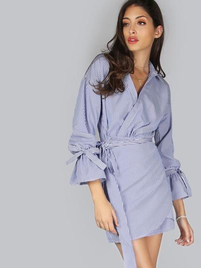 Striped Collared Wrap Dress BLUE MULTI