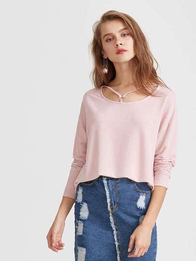 Camiseta asimétrica hombro caído cuello con tiras - rosa