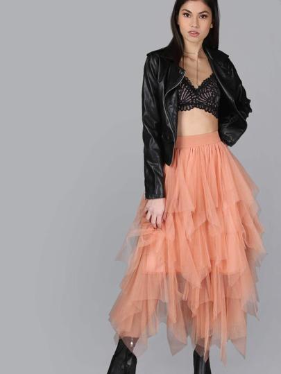 Layered Tulle Midi Skirt BRICK