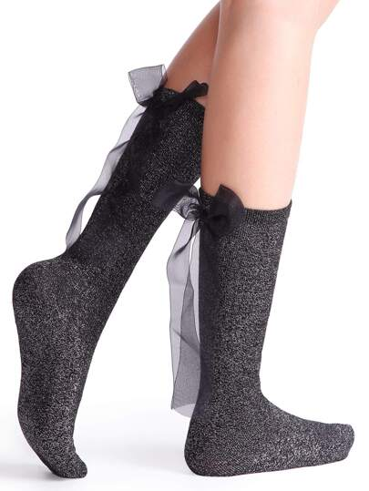 Black Bow Tie Back Socks