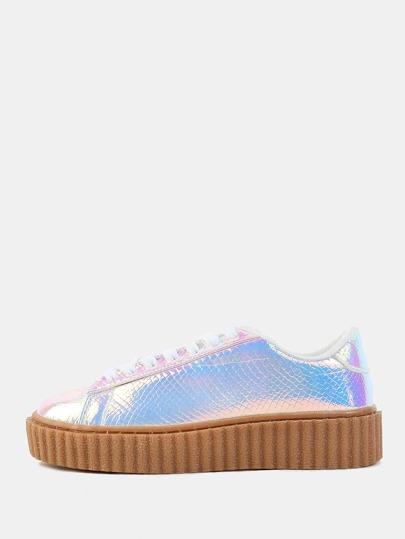 Flatform Hologram Gum Sole Sneakers PINK HOLOGRAM