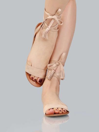 Imitation Suede Wrap Sandals NATURAL