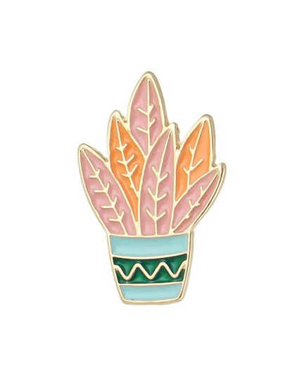 Orange Color  Enamel Plant Shape Big Brooches Jewelry