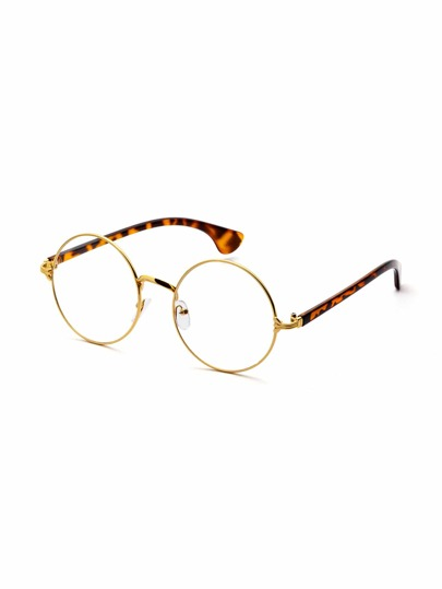 Gold And Leopard Frame Clear Lens Round Glasses