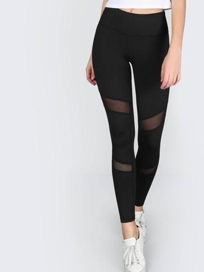 Skinny Mesh Panel Activewear Leggings BLACK