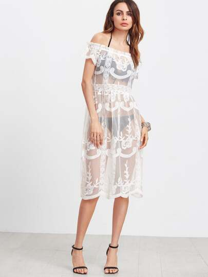 Frill Off Shoulder Embroidered Mesh Dress