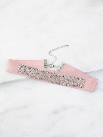 Pastel Rhinestone Cut Out Necklace PINK