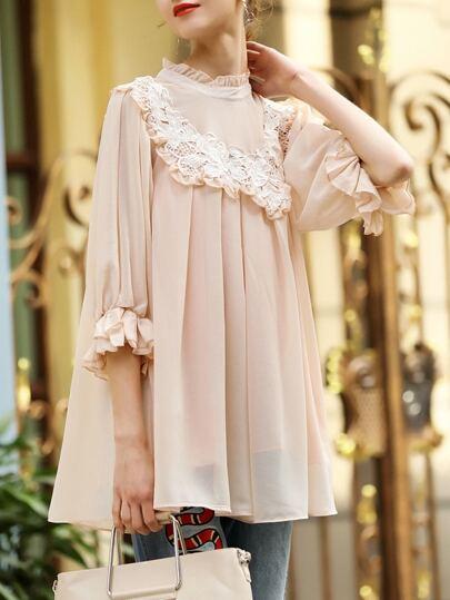 Pink Contrast Crochet Bell Sleeve Blouse