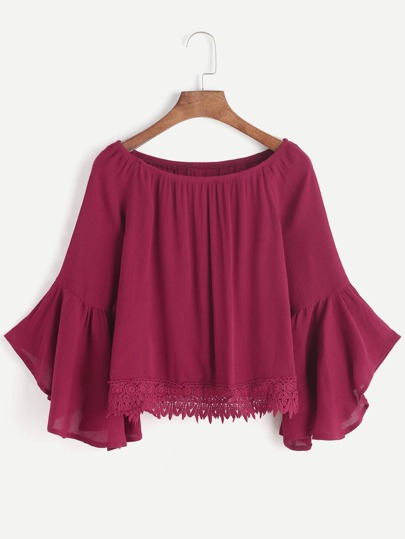 Trumpet Sleeve Crochet Lace Trim Top