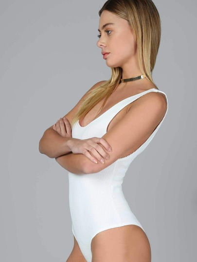 Ribbed Tank Bodysuit WHITE